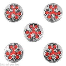 25 Mini Bouton Pression Strass Rouge Trèfle à 4 feuilles Pr Collier DIY 13mm