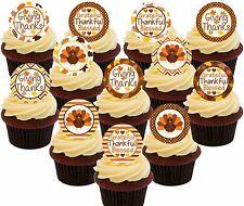 Feliz Acción de Gracias Comestible Cupcake Toppers, 24 Precortada Hada Cake Bollo Decoraciones