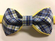 NEW Custom Mens Bow Tie Pre-tied Adjustable Blue/Yellow Plaid Handmade bowtie