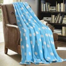 NIP Monarca Super Soft, Plush Sky Blue and White Polka Dot Fleece Throw Blanket