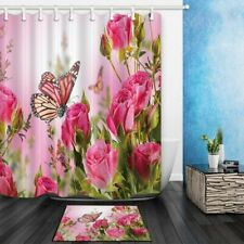 Flower Decor Butterfly Fliying On The Pink Rose Waterproof Shower Curtain Set