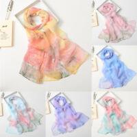 Fashion Women Chiffon Lotus Printing Long Soft Wrap Scarf Ladies Shawl Scarves