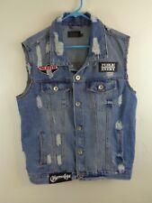 rap hip hop vest distressed denim patches run dmc cypress pe beastie lrg custom