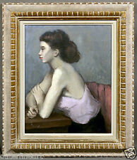 "Beautiful Decorative Painting of a Woman's Profile signed ""Jeanne Fenton"""