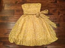 BCBG Max Azria Yellow & White Strapless Bubble Dress Size 0, NWT!