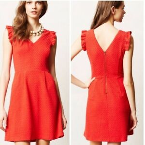 Tabitha Anthropologie Cherie Textured Knit Ruffle Trim Dress Red Orange Size 8