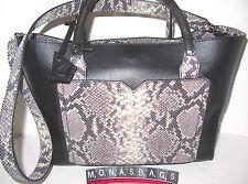 Botkier Tribeca Tote Satchel Bag Black Snake Embossed Leather NWT $298