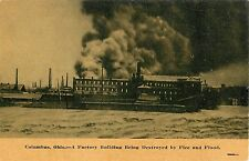 1913 A Factory Being Destroyed by Flood and Fire, Columbus, Ohio Postcard
