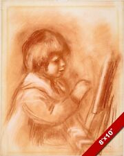 """RENOIR'S SON CLAUDE """"COCO"""" RED CHALK PAINTING ART REAL CANVAS GICLEEPRINT"""