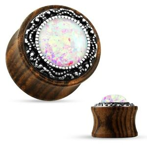 PAIR-Wood w/Glittered Opal White Saddle Flare Ear Plugs 10mm/00 Gauge Body Jewe