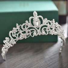 Silver Jeweled Crystal Rhinestone Queen Crown Tiara Headband Bridal Pageant