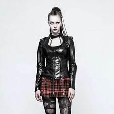 PUNK RAVE Dystopia Vinyl Jacket für Damen Cyber Gothic Jacke Schwarz mit Lack