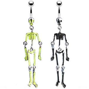 Dangle Skeleton Belly Bar / Navel Ring