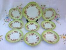 ANTIQUE VINTAGE ART NOUVEAU EDWARDIAN CAKE PLATE & 8 TEA/SIDE PLATES