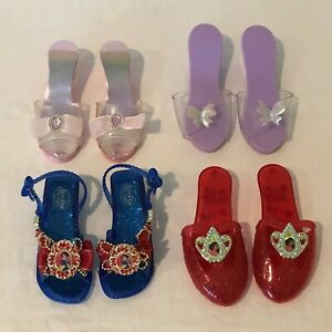 Disney Princess Pretend Play Dress Up Shoes Lot of 4 Pairs Pink Purple Red Blue