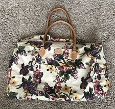 Vintage 80s Gitano Tote Duffle Bag Floral Weekend Canvas Faux Leather Handles