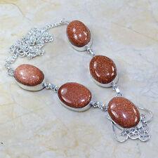 "Handmade Sun Sitara Goldstone Jasper 925 Sterling Silver Necklace 18.25"" Y9022"