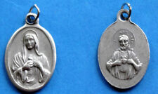 """Sacred Heart of Jesus / Immaculate Heart of Mary Oxidixed Medal (7/8"""" x5/8"""")"""