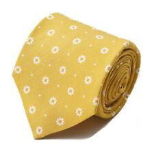 NWT $230 ISAIA 7-Fold Golden Yellow Floral Jacquard Print Cotton-Silk Tie