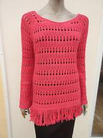 Next - Womens Deep Pink Open Knit Cotton Blend Jumper - size Medium