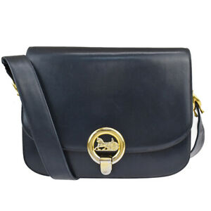 CELINE Horse Carriage Chain Shoulder Bag Leather Navy Blue Gold Italy 32MK475