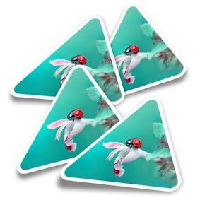 4x Triangle Stickers - Pretty Ladybird Flower Ladybug Bug  #13164
