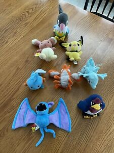 VINTAGE pokemon plush lot PIKACHU ZUBAT JAKKS TAILOW AND MORE
