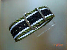 Relojes pulsera nailon 22 mm verde blanco negro otan banda hebilla textil