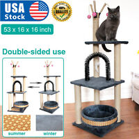 """53"""" Cat Tree Activity Tower Pet Kitty Furniture with Cave Scratching Posts USA"""