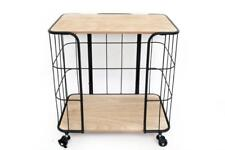Retro Black Metal Wood Drinks Serving Trolley Shelves Kitchen Hall Storage Unit