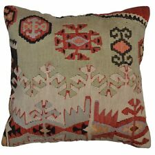 """Barkat Rugs 15"""" x 15"""" Geometric Pattern Hand-Woven Kilim Pillow Cover Brpsf-2412"""