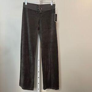 Y2K Juicy Couture Black Label NWT Size XS Velour Pants Gray Wide Leg Drawstring