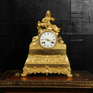 Early Japy Freres Ormolu Antique French Clock ~ A Girl with her Dog