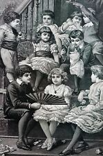 Christmas Party 1886 RICH CHILDREN WARM and HAPPY Matted Walker Print w Poem