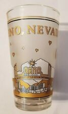 Vintage Official Reno, Nevada Gold Glass New Mint Frosted and 24K Gold Leaf