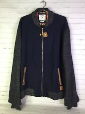 Parish Nation Mens 2XL Ribbed Collar Knit Sleeves Blouson Varsity Jacket Blue