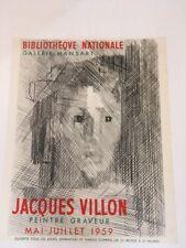 VILLON AFFICHE Bibliothèque Nationale Galerie Mansart 1959