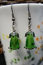 New Handmade Dangle Glass Bead Earrings Black and Green Sitting Dog Puppy