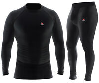Mens Compression Shirt Long Sleeve Dri Fit Base Layer Black White Running Tops