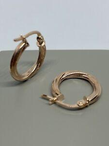 375 Hallmarked 9ct Solid Rose Gold  twisted Huggie Hoop Earrings