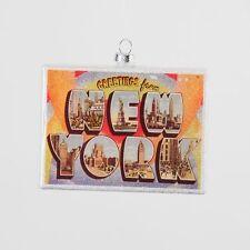 New York Ny Postcard retro Glass Ornament Glitter Accents Christmas