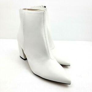 Raid WF Wynter Womens Size 10 UK 8 White Back Zip Heeled Ankle Booties Boots