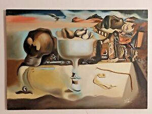 SALVADOR DALI HANDMADE OIL PAINTING ON CANVAS,SIGNED,W/GALLERY STAMPS