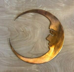 Man on the Moon Wall Metal Art Hanging with Rustic Copper Finish