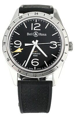 Bell And Ross Gmt Black Dial 42mm Stainless Steel On Rubber Strap Brv123-bl-gmt