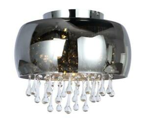 Luxury Ceiling Round Chandelier Crystal Droplets Light Smoked Glass Finish