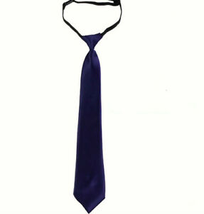 """Girls/Boys 16"""" Adjustable Classic Solid and Plaid Pre-tied Necktie Teen Kids"""