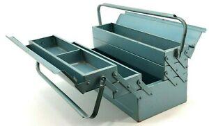 Vintage Machinist Jeweler Tool Tackle Box Chest Steel Metal Organizer Parts Blue