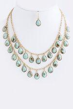 D9 Sunstone Natural Mint Green Aqua Gold Necklace Earrings Set Boutique