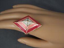 Coral Pink geometric diamond shape Gold tone big cocktail ring adjustable
